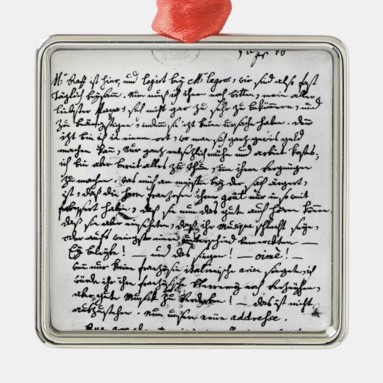 Letter from Mozart to his Father, 5th April Metal Ornament