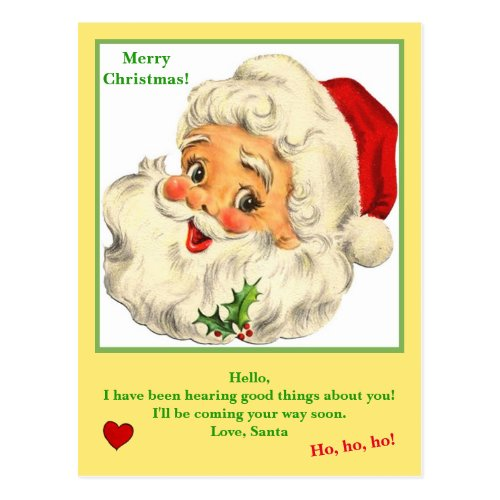 Letter from Santa Claus on  cute Postcard
