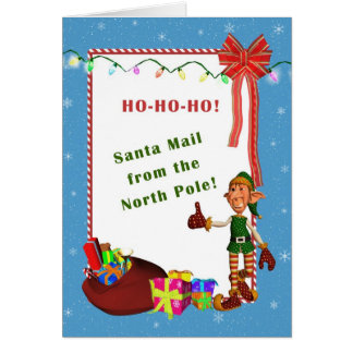 Letter from Santa - Elf and Presents Card Template