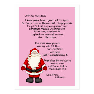 Letter From Santa Postcard