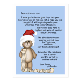 letters from santa postcards zazzle