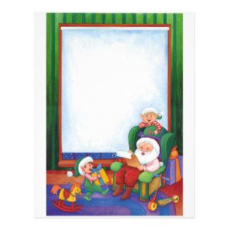 Letter From Santa: Santa seated with Elves Letterhead