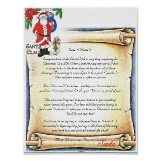 Letter from Santa Vintage Style Poster