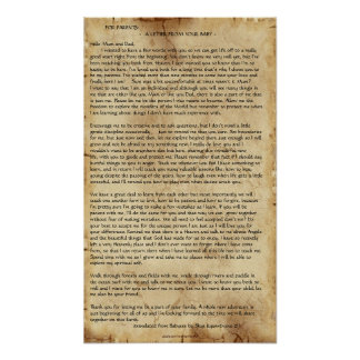 """Letter from your Baby"" Parchment-style Poster"