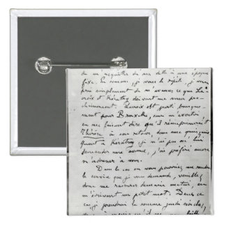 Letter from Zola to Edouard Manet  1868 2 Inch Square Button