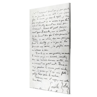 Letter from Zola to Edouard Manet  1868 Canvas Print