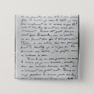 Letter from Zola to Edouard Manet  1868 Pinback Button
