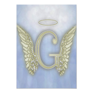 Letter G Angel Monogram 5x7 Paper Invitation Card