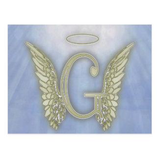 Letter G Angel Monogram Postcard