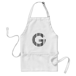 LETTER G BAR CODE First Initial Barcode Pattern Adult Apron