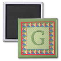 Letter G: 'Fabric Quilt' Style Initial and Pattern Magnet