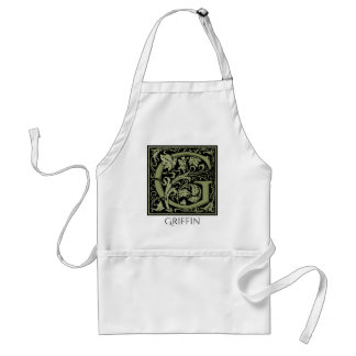 Letter G First Letter Monogram Personalized Adult Apron