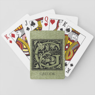 Letter G First Letter Monogram Personalized Playing Cards