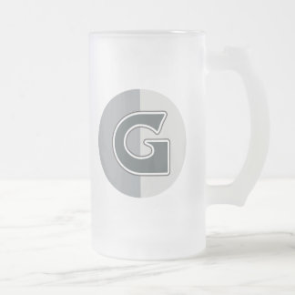 Letter G Frosted Glass Beer Mug