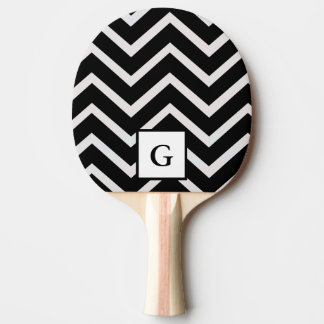 Letter G in black and white zigzags Ping Pong Paddle