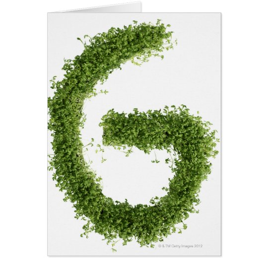 Letter 'G' in cress on white background, Card