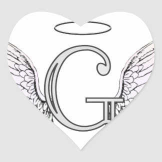 Letter G Initial Monogram with Angel Wings & Halo Stickers