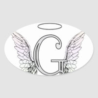 Letter G Initial Monogram with Angel Wings & Halo Oval Sticker