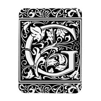 Letter G Medieval Monogram Vintage Initial Rectangular Photo Magnet