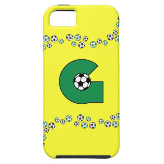 Letter G Monogram in Soccer Green iPhone 5 Covers