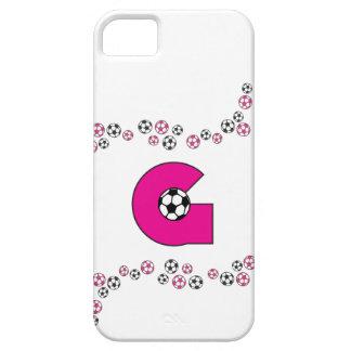 Letter G Monogram in Soccer Pink iPhone 5 Cases