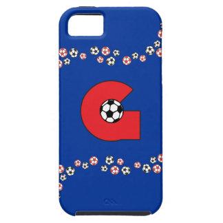 Letter G Monogram in Soccer Red iPhone 5 Case