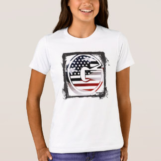 Letter G Monogram Initial Patriotic USA Flag T-Shirt