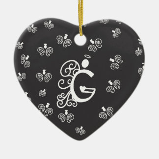 Letter G Monogram Initial with white angels Ceramic Ornament