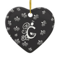 Letter G Monogram Initial with white angels Christmas Tree Ornaments