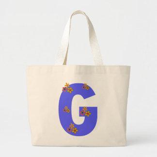 Letter G Monotone Pretty Flowers Unique Large Tote Bag