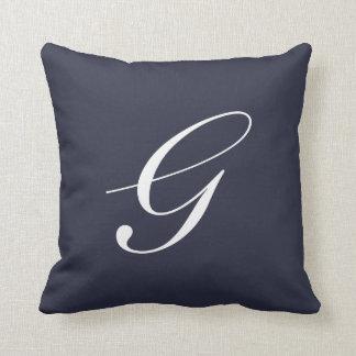 Letter G Navy Blue Monogram Pillow