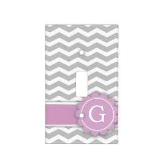 Letter G Pink Monogram Grey Chevron Light Switch Cover