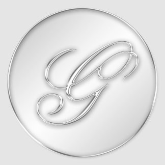 Letter G script initial faux silver monogram favor Classic Round Sticker