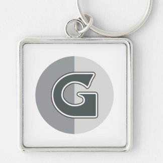 Letter G Silver-Colored Square Keychain