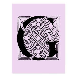 Letter G Vintage Celtic Knot Monogram Postcard