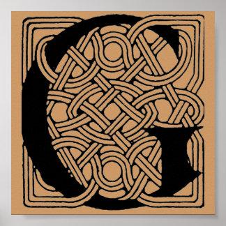 Letter G Vintage Celtic Knot Monogram Posters