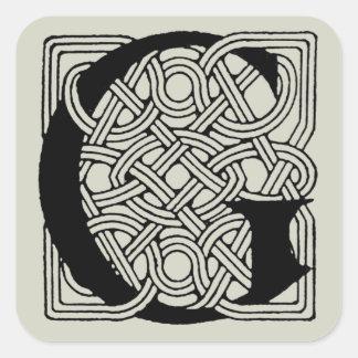 Letter G Vintage Celtic Knot Monogram Square Sticker