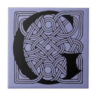 Letter G Vintage Celtic Knot Monogram Ceramic Tile