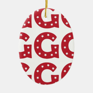 Letter G - White Stars on Dark Red Ceramic Ornament