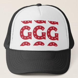 Letter G - White Stars on Dark Red Trucker Hat