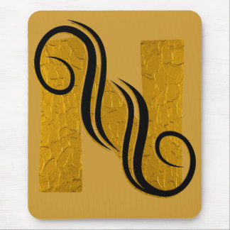 Letter gold N Mouse Pad
