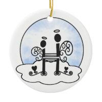 Letter H Alphabet Initial Monogram w Angel Clouds Christmas Ornament