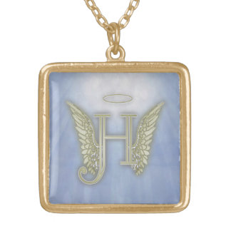 Letter H Angel Monogram Gold Plated Necklace