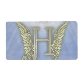 Letter H Angel Monogram Label