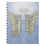 Letter H Angel Monogram Note Book
