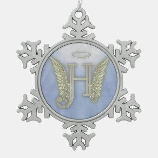 Letter H Angel Monogram Snowflake Pewter Christmas Ornament