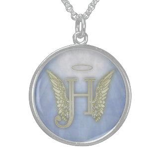 Letter H Angel Monogram Sterling Silver Necklace