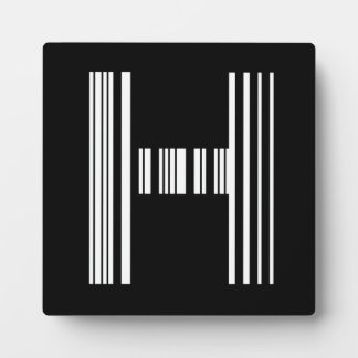 LETTER H BAR CODE First Initial Barcode Pattern Plaque