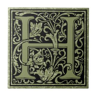 Letter H First Letter Monogram Ceramic Tile