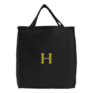 Letter H Flip Flops Monogram Embroidered Bag